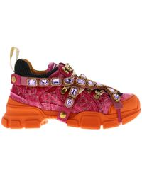 Gucci Flashtrek Lace-up Sneakers In Velvet And Macro-net With Removable Rhinestone Jewels - Pink