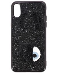 Chiara Ferragni Embroidered Wink Phone Case - Black