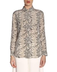 9782335ebf941f Equipment - Slim Signature Python-print Silk Button-front Blouse - Lyst