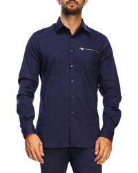 Prada Shirt In Stretch Poplin With Italian Collar And Zip Pocket - Blue