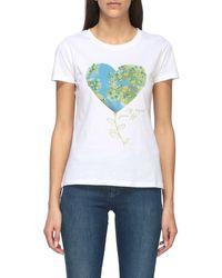 Liu Jo Crew Neck T-shirt With Heart Print - Blue