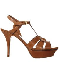 Saint Laurent Ysl Tribute Sandal Classic In Leather With Stiletto Heel - Natural