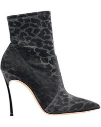 Casadei - Blade Leo Ankle Boots In Animal-effect Metallized Fabric - Lyst