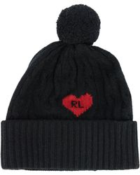 Polo Ralph Lauren Hat With Maxi Heart And Pompon - Black
