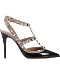 Valentino - Studded T-strap Court Shoes - Lyst