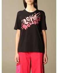 Love Moschino Tshirt in cotone con stampa - Nero