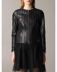 Liu Jo Round-neck Leather Jacket - Black