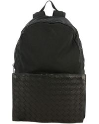 Bottega Veneta Clutch Bag / Backpack In Nylon And Woven Leather - Black