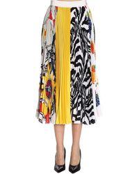 MSGM - Fruit Print Pleated Crepe Midi Skirt - Lyst