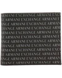 28997d3672 Armani Exchange - Portafoglio in pelle sintetica con logo all over - Lyst