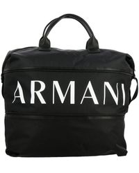 Armani Exchange Gym Nylon Bag With Full Zip With Logo Print - Black