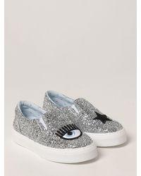 Chiara Ferragni Sneakers slip on glitter - Grigio