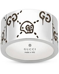 Gucci Ghost Ring 12 Mm Silver With Aureco Finishing - Metallic