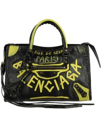 Balenciaga - City S Bag In Genuine Leather With Graffiti - Lyst