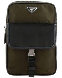 Prada One-shoulder Backpack In Bicolor Nylon With Triangular Logo - Multicolour