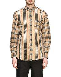 Burberry Check Patchwork Shirt With Italian Collar - Natural