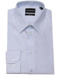 Emporio Armani - Camicia modern fit in cotone con collo italiano - Lyst