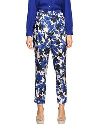Boutique Moschino Pants In Floral Patterned Cady - Blue