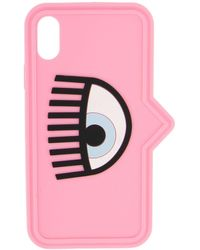 Chiara Ferragni Case Iphone Xs In Silicone With Eye - Pink
