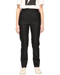 Saint Laurent Pantalon rayé en lurex - Noir