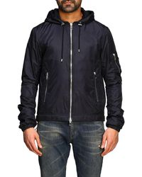 Balmain Nylon Jacket With Hood And Back Logo - Black