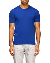 Paolo Pecora Short-sleeved Basic Cotton Jumper - Blue