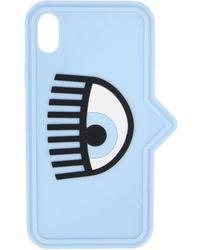 Chiara Ferragni Case Iphone Xs In Silicone With Eye - Blue