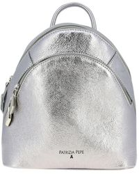 Patrizia Pepe Backpack In Laminated Leather With Double Zip - Metallic