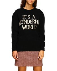 Alberta Ferretti Crew-neck Pullover With It's A Wonderful World - Black