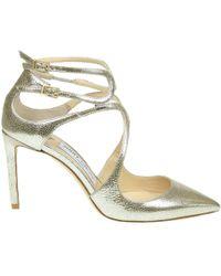 Jimmy Choo | Women's Silver Leather Sandals | Lyst