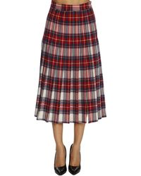 Boutique Moschino - Pleated Tartan Skirt - Lyst