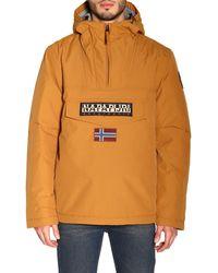 Napapijri Pullover Logo Patch Jacket - Brown