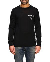 Balmain Cashmere Crewneck Sweater With Logo - Black