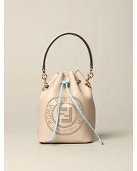 Fendi Mon Tresor Bucket Bag In Leather With Pierced Logo - Natural