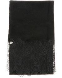 Twin Set Twin-set Stole With Lace Bottom - Black