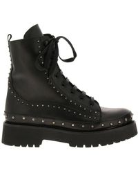 Pinko Cingoli Boots In Smooth Leather With Studs - Black