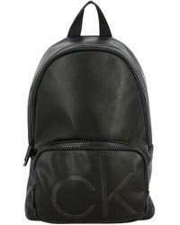 Calvin Klein Backpack In Synthetic Leather With Logo - Black