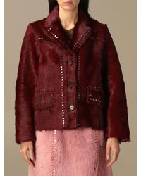 Prada Fur Coats - Red