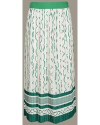 Elisabetta Franchi Chainlink Print Box Pleat Skirt - Green