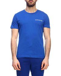36e877b5c35e Calvin Klein Side Logo T-shirt in Blue for Men - Lyst