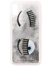 Chiara Ferragni Cover Iphone X / Xs Eyes Flirting Glitter With Liquid In Motion - Metallic