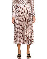 Valentino V-print Pleated Silk-satin Midi Skirt - Pink