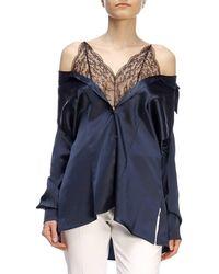db9f213e71b1d Maison Margiela - Chantilly Lace Camisole Panel Off-shoulder Silk Satin  Shirt - Lyst