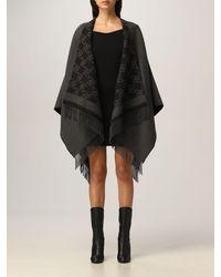 Fendi Mantella in lana e cashmere - Nero