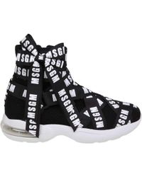 MSGM - Black Logo Ribbon Sneakers - Lyst