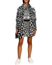 Alberta Ferretti Maxi Scarf In Animalier Faux Fur With Tiger - Gray