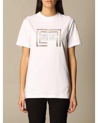 Elisabetta Franchi Tshirt in cotone con logo traforato - Bianco