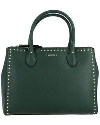 Twin Set Twin-set Tote Large Bag With Logo And Studs - Green