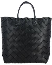Bottega Veneta Borsa Maxi Leather Tote Bag - Black