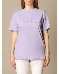 Elisabetta Franchi Tshirt in jersey di cotone con logo - Bianco